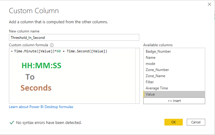 Converting HH:MM:SS to Seconds in Power BI