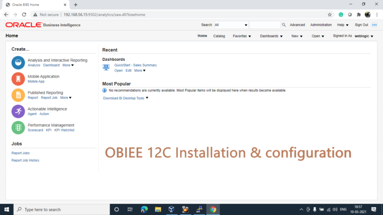 Installing OBIEE 12C [Version 12.2.1.4.0]